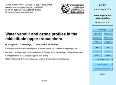 Water Vapour and Ozone Profiles in the M... by Vaughan, G.