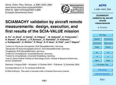 Sciamachy Validation by Aircraft Remote ... by Fix, A.