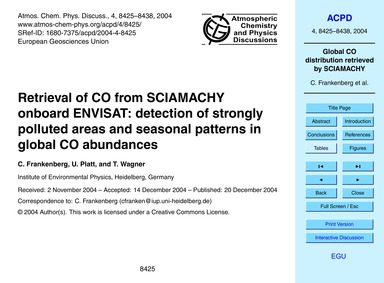 Retrieval of Co from Sciamachy Onboard E... by Frankenberg, C.