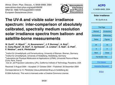 The Uv-a and Visible Solar Irradiance Sp... by Gurlit, W.
