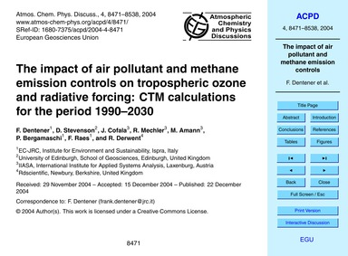 The Impact of Air Pollutant and Methane ... by Dentener, F.