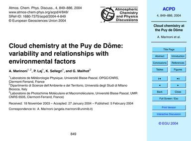 Cloud Chemistry at the Puy De DôMe: Vari... by Marinoni, A.