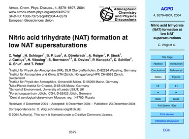 Nitric Acid Trihydrate (Nat) Formation a... by Voigt, C.
