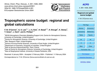 Tropospheric Ozone Budget: Regional and ... by O'connor, F. M.