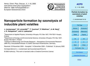 Nanoparticle Formation by Ozonolysis of ... by Joutsensaari, J.