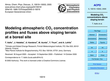 Modeling Atmospheric Co2 Concentration P... by Aalto, T.