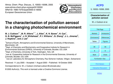 The Characterisation of Pollution Aeroso... by Cubison, M. J.