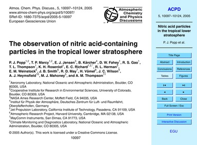 The Observation of Nitric Acid-containin... by Popp, P. J.