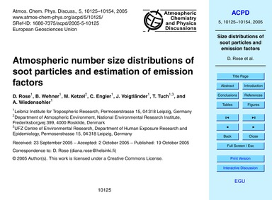 Atmospheric Number Size Distributions of... by Rose, D.