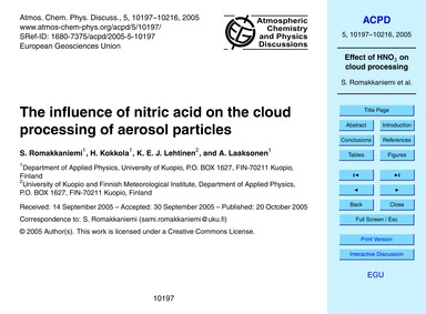 The Influence of Nitric Acid on the Clou... by Romakkaniemi, S.