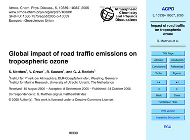 Global Impact of Road Traffic Emissions ... by Matthes, S.