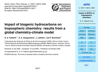 Impact of Biogenic Hydrocarbons on Tropo... by Folberth, G. A.