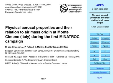 Physical Aerosol Properties and Their Re... by Van Dingenen, R.