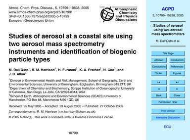Studies of Aerosol at a Coastal Site Usi... by Dall'osto, M.
