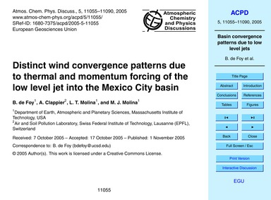 Distinct Wind Convergence Patterns Due t... by De Foy, B.