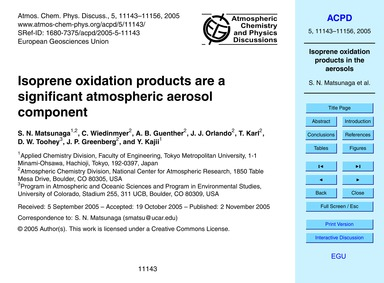Isoprene Oxidation Products Are a Signif... by Matsunaga, S. N.