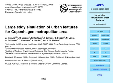 Large Eddy Simulation of Urban Features ... by Mahura, A.
