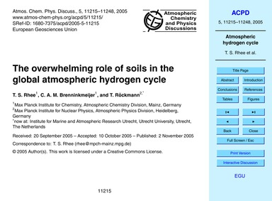 The Overwhelming Role of Soils in the Gl... by Rhee, T. S.