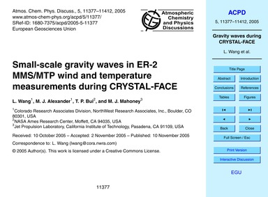 Small-scale Gravity Waves in Er-2 Mms/Mt... by Wang, L.