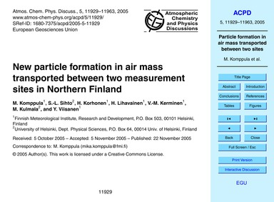 New Particle Formation in Air Mass Trans... by Komppula, M.