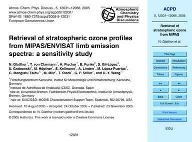 Retrieval of Stratospheric Ozone Profile... by Glatthor, N.
