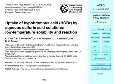 Uptake of Hypobromous Acid (Hobr) by Aqu... by Iraci, L. T.