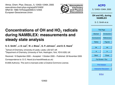Concentrations of Oh and Ho2 Radicals Du... by Smith, S. C.