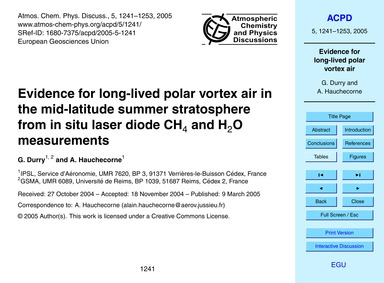 Evidence for Long-lived Polar Vortex Air... by Durry, G.