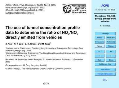 The Use of Tunnel Concentration Profile ... by Yao, X.