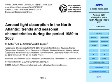 Aerosol Light Absorption in the North At... by Junker, C.