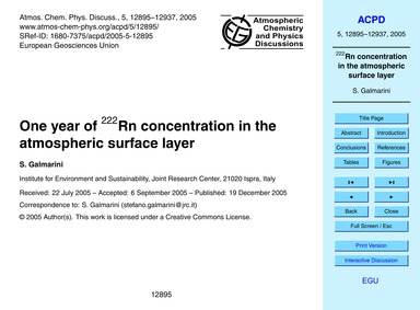One Year of 222Rn Concentration in the A... by Galmarini, S.