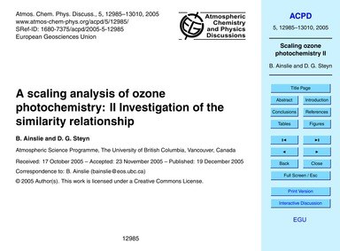 A Scaling Analysis of Ozone Photochemist... by Ainslie, B.