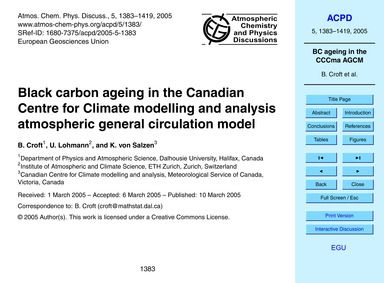 Black Carbon Ageing in the Canadian Cent... by Croft, B.
