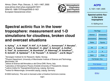 Spectral Actinic Flux in the Lower Tropo... by Kylling, A.