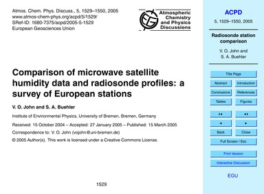 Comparison of Microwave Satellite Humidi... by John, V. O.
