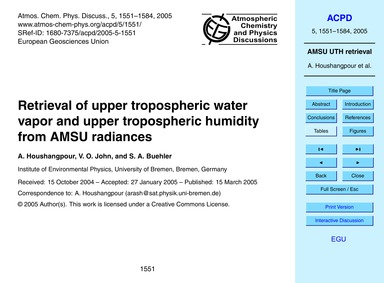 Retrieval of Upper Tropospheric Water Re... by Houshangpour, A.