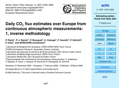 Daily Co2 Flux Estimates Over Europe fro... by Peylin, P.