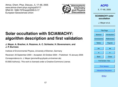 Solar Occultation with Sciamachy: Algori... by Meyer, J.