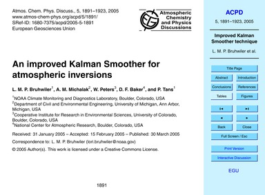 An Improved Kalman Smoother for Atmosphe... by Bruhwiler, L. M. P.