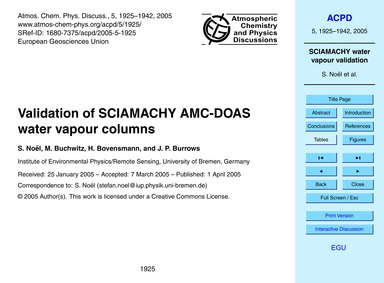 Validation of Sciamachy Amc-doas Water V... by Noël, S.