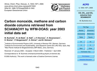 Carbon Monoxide, Methane and Carbon Diox... by Buchwitz, M.