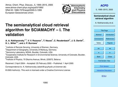 The Semianalytical Cloud Retrieval Algor... by Kokhanovsky, A. A.