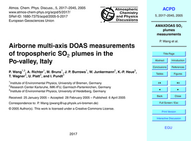Airborne Multi-axis Doas Measurements of... by Wang, P.