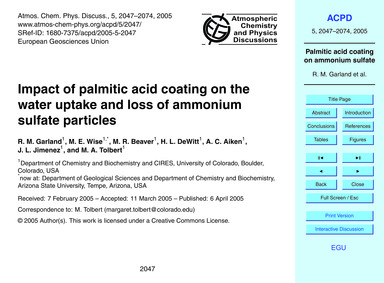 Impact of Palmitic Acid Coating on the W... by Garland, R. M.