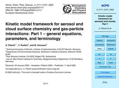 Kinetic Model Framework for Aerosol and ... by Pöschl, U.