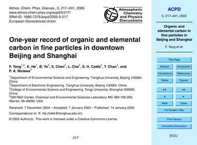One-year Record of Organic and Elemental... by Yang, F.