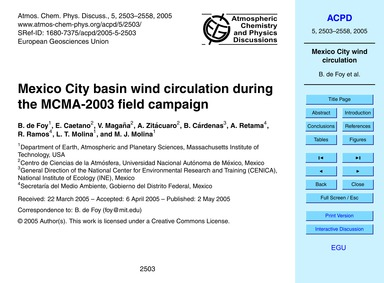 Mexico City Basin Wind Circulation Durin... by De Foy, B.