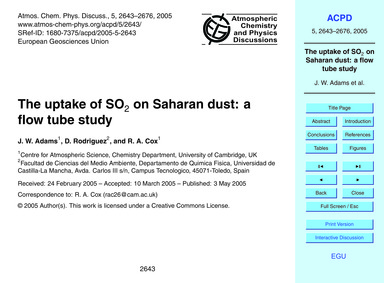 The Uptake of So2 on Saharan Dust: a Flo... by Adams, J. W.
