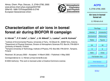 Characterization of Air Ions in Boreal F... by Hõrrak, U.