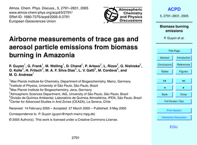 Airborne Measurements of Trace Gas and A... by Guyon, P.